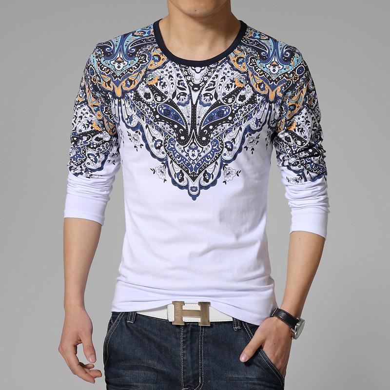 Mens T Shirts New Korean Tshirt Stylish Ethnic Style Print ...