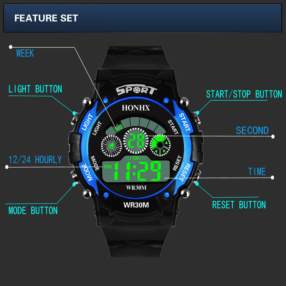 Children's Watches Imported From Abroad #5002waterproof Children Boy Digital Led Quartz Alarm Date Sports Wrist Watch Dropshipping New Arrival Freeshipping Hot Sales