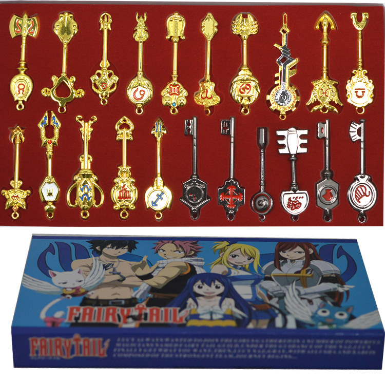 21pcs/set Fairy Tale Lucy Keychain Celestial Spirit Key ...
