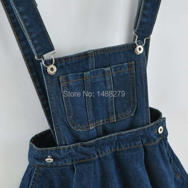 9bd4cd00430c6 Wholesale- New 2017 Vintage Sweet Preppy Style Womens takedown braces mini  Denim Skirt Ladies Girls A-line Suspender Skirt S M L