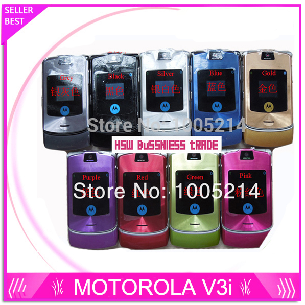 Free shipping Razr V3i 100% Original Cheap Unlocked GSM mobile phone have Russian keyboard one year warranty + Free Gifts