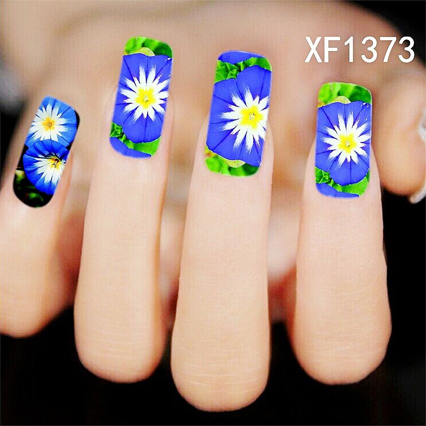 2016 Nail Art Decorations Beautiful Blue Lotus Flowers Design Nail Sticker Beauty Wraps Foil Polish Decals