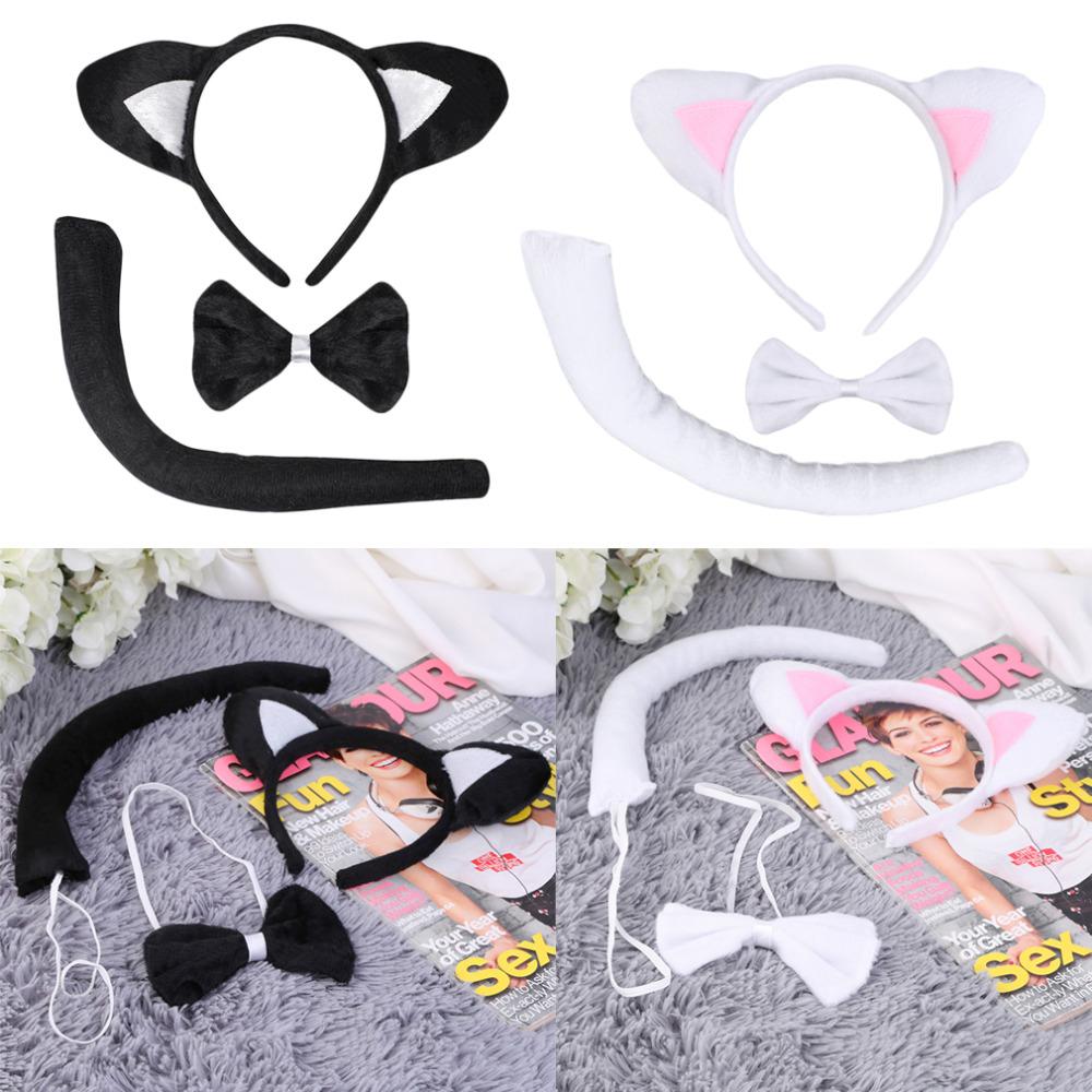 Cute Animal Tail Ear Headband Bow Tie 3Pc Tail Party Little Cat font b Fancy b