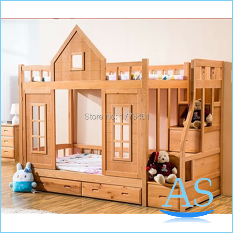 2015 hot sale wooden kids bunk bed beech wood children double bed bedroom furniture ws520 in. Black Bedroom Furniture Sets. Home Design Ideas