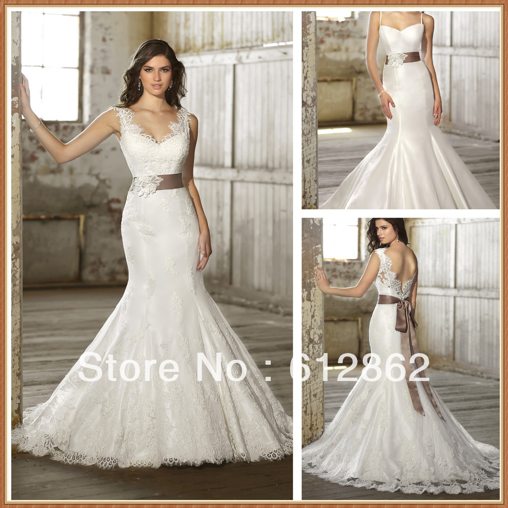 Sleeveless Two Piece Lace And Satin Mermaid Long Train