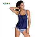 Plus Size Tankini Swimsuit Student Two Piece Bikini Set Striped Double Up Sport Swimwear Women 2