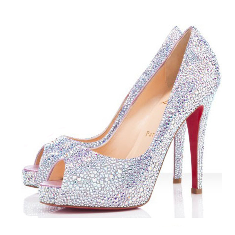 High Heels Bridal Shoes With Peep Toe Platform With