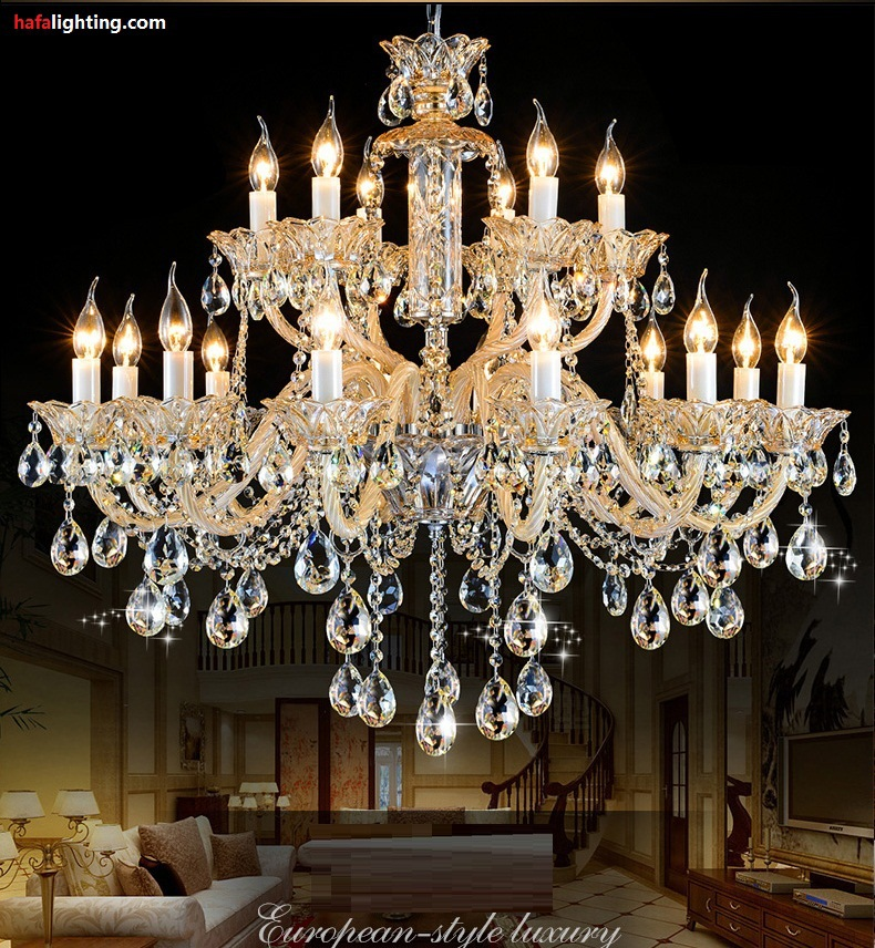 Noble Luxurious Export K9 Crystal Chandelier 18 Candle crystal lights Villa living room stair crystal lights