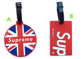 2 pcs set Supreme logo Luggage tag supr me Label cards SUP red PVC bag pendants