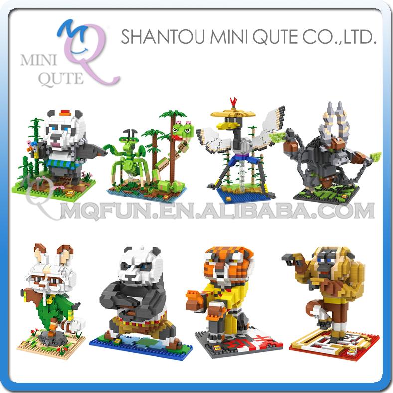 Mini Qute WTOYW LOZ 2016 New Arrive Kung Fu Panda Po Kawaii cartoon Plastic Cube Building