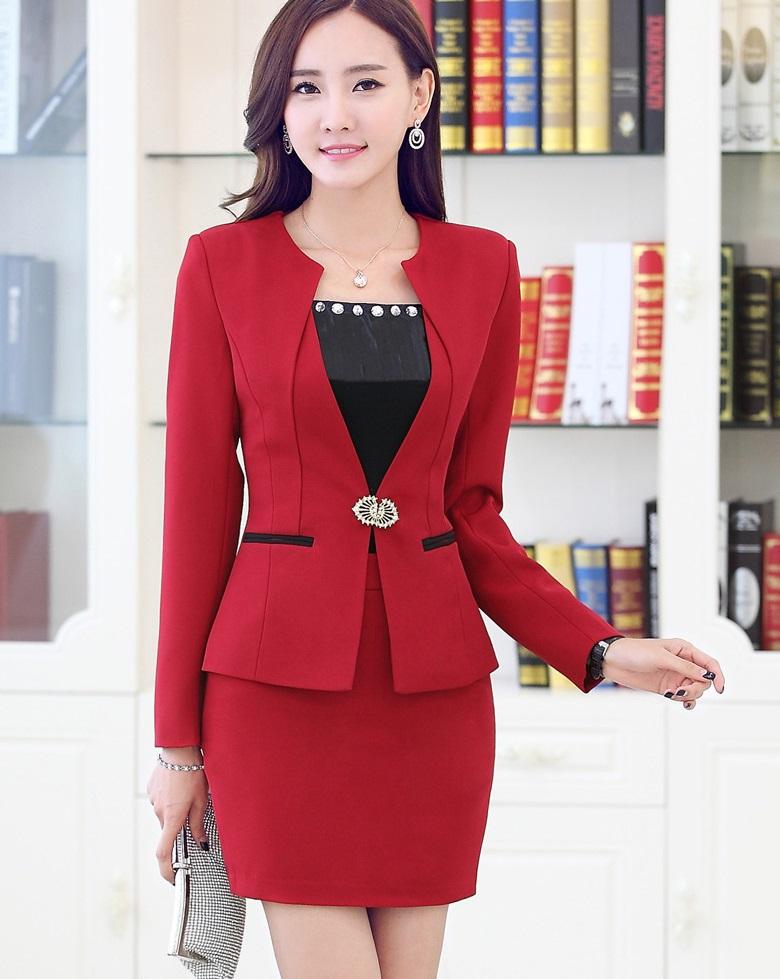 New 2016 Spring Fall Formal Women Elegant Skirt Suits Red ...