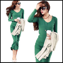 Hot sale Ladies Elegant winter  dress  2014 new fashion Sexy slim long sleeve  Mid-calf  Women clothing plus size S-3XL   23