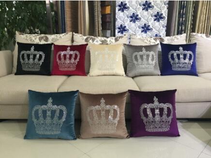 Rhinestone multicolor European luxury fashion creative plush pillow cover crown decorative home sofa cushions pillowcases