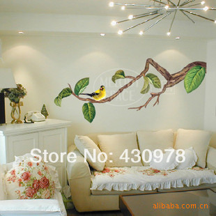 QZ1098 Free Shipping 2Pcs Green Leaf Big Tree Branch Gorgeous Bird Singing <font><b>Elegant</b></font> Removable PVC Wall Stickers <font><b>Home</b></font> <font><b>Decoration</b></font>