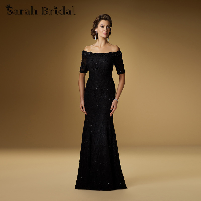 Mother Of The Groom Dress: Long Black Lace Mother Of The Bride Dresses Short Sleeves