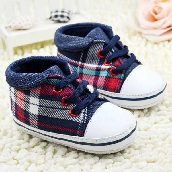 Toddler Boys Plaid Crib Shoes Sneaker Kid Lace UP Soft Sole Baby Shoes Prewalker