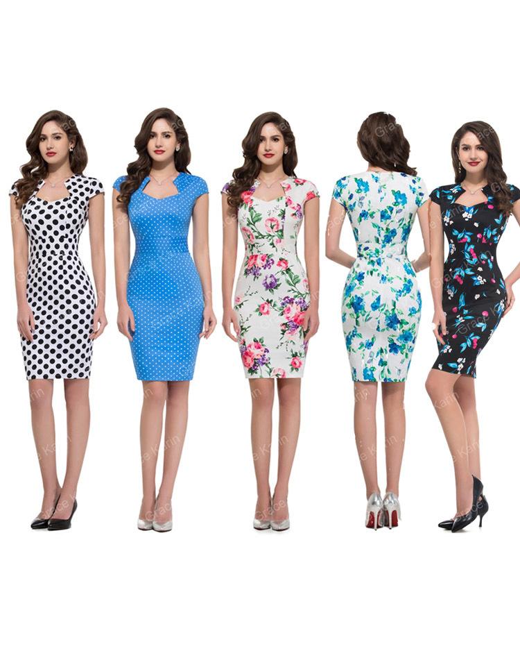 2015 Brand Vintage Fashion Women Dress 50s 60s Rock Roll ...