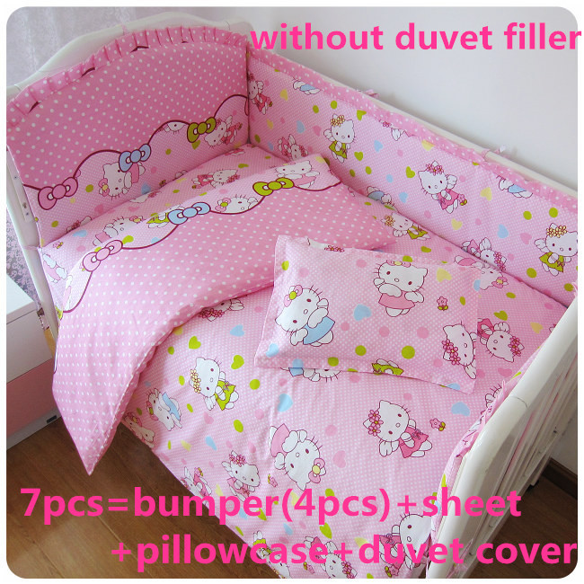 Discount 6 7pcs Hello Kitty Baby Bedding Set 100 Cotton Breathable Crib Bumper Reactive Printing 120