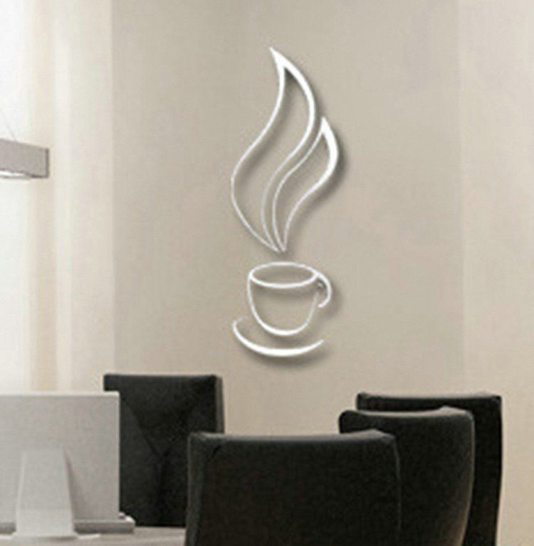 Silver 3D Coffee Cup Bell Wall Sticker Cool DIY Wall Stickers Wallpaper Favored For Home Kitchen Decor
