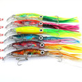 14cm 40g 3D Eye Artificial Octopus Plastic Fishing Lure Buzz Bait Treble Hook Buzzbait Sea Fishing