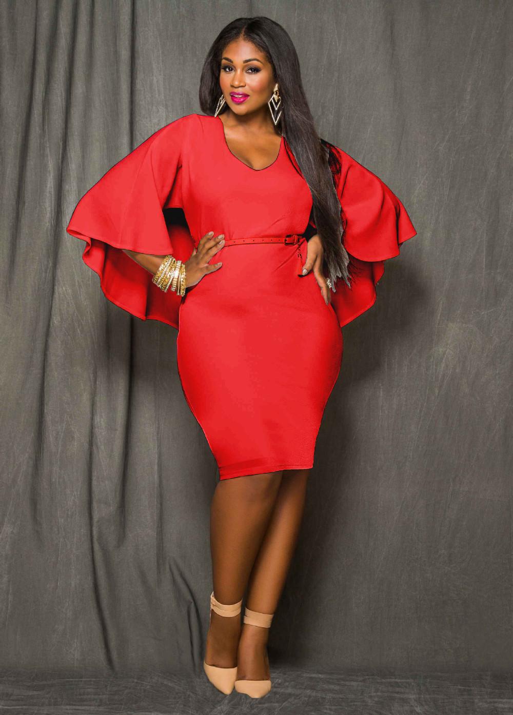 22a1a89195 Red Blue Black White Plus Size Cape Dress Fashion Women O Neck ...