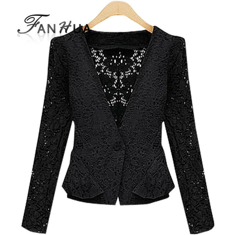 Черный белый кружево однобортная короткая уличная одежда пальто женщины в одежда