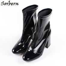 Sorbern Shiny Wine Red Black Spring Short Ankle Boots For Women 9Cm Square  Heels Round 57cde92e18d2