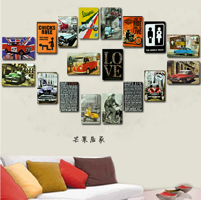 18pieces/lot The European  style automobile background painting Tin Sign Bar pub home Wall Decor Retro Metal Art Poster 20*30 CM