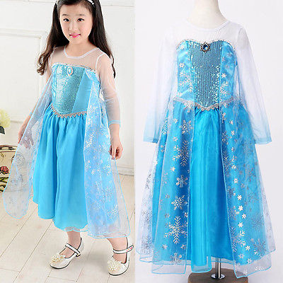 Cartoon Halloween Princess kids Baby Girls Clothes Cosplay Formal font b Fancy b font Long Blue