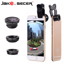 2016 Fish Eye Lens + Wide Angle + Macro mobile Phone Lens 3 in 1 Universal Smartphone Lens For Ip 6S plus 5S 4S xiaomi huawei