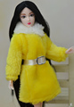 New Design 2015 White Yellow Plush Lint Coat Belt Winter Wear Dress Snowsuit Clothing Outfit Clothes