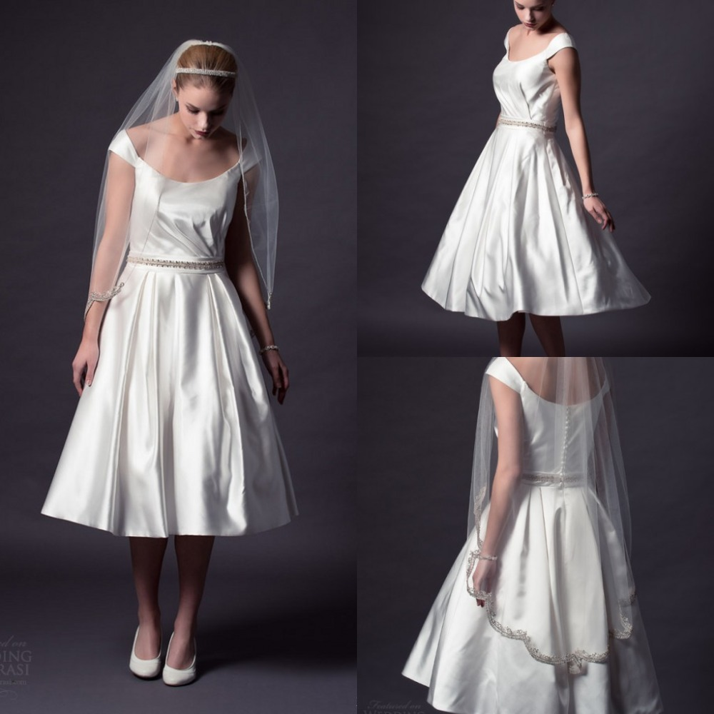 Simple Elegant Tea Length Chiffon Cap Sleeve Wedding: 2015 Simple Wedding Dresses A Line Tea Length Scoop Cap
