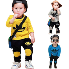 New Autumn 2016 Boy Clothes set Cartoon Letter Printed O Neck Long Sleeve Pullover Pant Kids