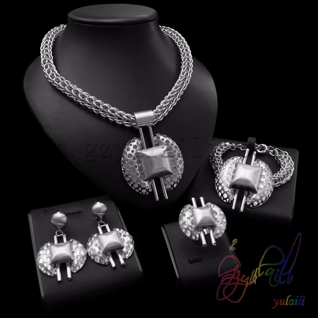 Heavy Indian Bridal Jewelry Sets Beautiful Silver Costume Jewelry