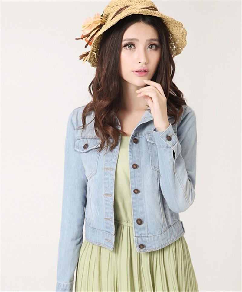 4a8a16402d666 New Spring Summer 2016 Plus Size Vintage Cropped Short Denim Jacket  Long-Sleeve Cardigan Coat Jeans Jacket Women