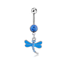 Zircon Dragonfly Body piercing belly button ring Navel jewelry Retail belly bar 14G 316L surgical steel