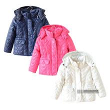 2015 Baby girls autumn winter coat children hearts quilted padded cotton jackets kids waist outerwear brand