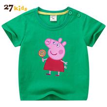 6fc541ee7 27kids Children Clothing Boys Cartoon T Shirt Summer Fashion Girls Tops  Peppa Pig Clothes Kids Short