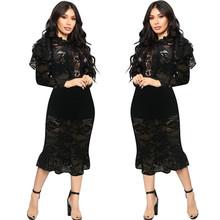 Черное Кружевное Платье-карандаш с оборками и вышивкой, с длинным рукавом, облегающее платье миди, вечерние платья для женщин, сексуальные н...(Китай)
