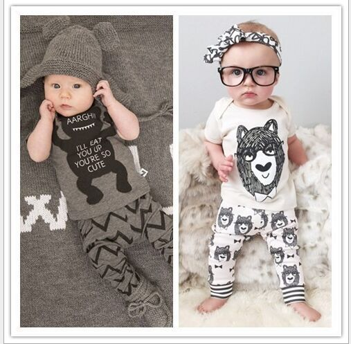 2016 summer style Baby Babe clothing sets cotton little monsters Bowtie bear kurzarm 2 Piece Baby