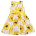 Kids Children Girl s Wear Sleeveless Cute Sunflower Printed Party Dress