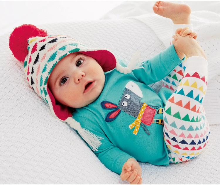 Retail 2015 Autumn style Infant clothes Clothing sets Cotton Cartoon Animal 2pcs Long Sleeve Pants Baby
