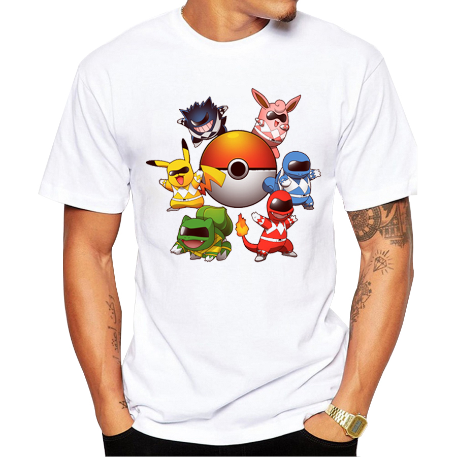 buy pokemon go men t shirt fashion go poke rangers t shirts pokemon printed. Black Bedroom Furniture Sets. Home Design Ideas
