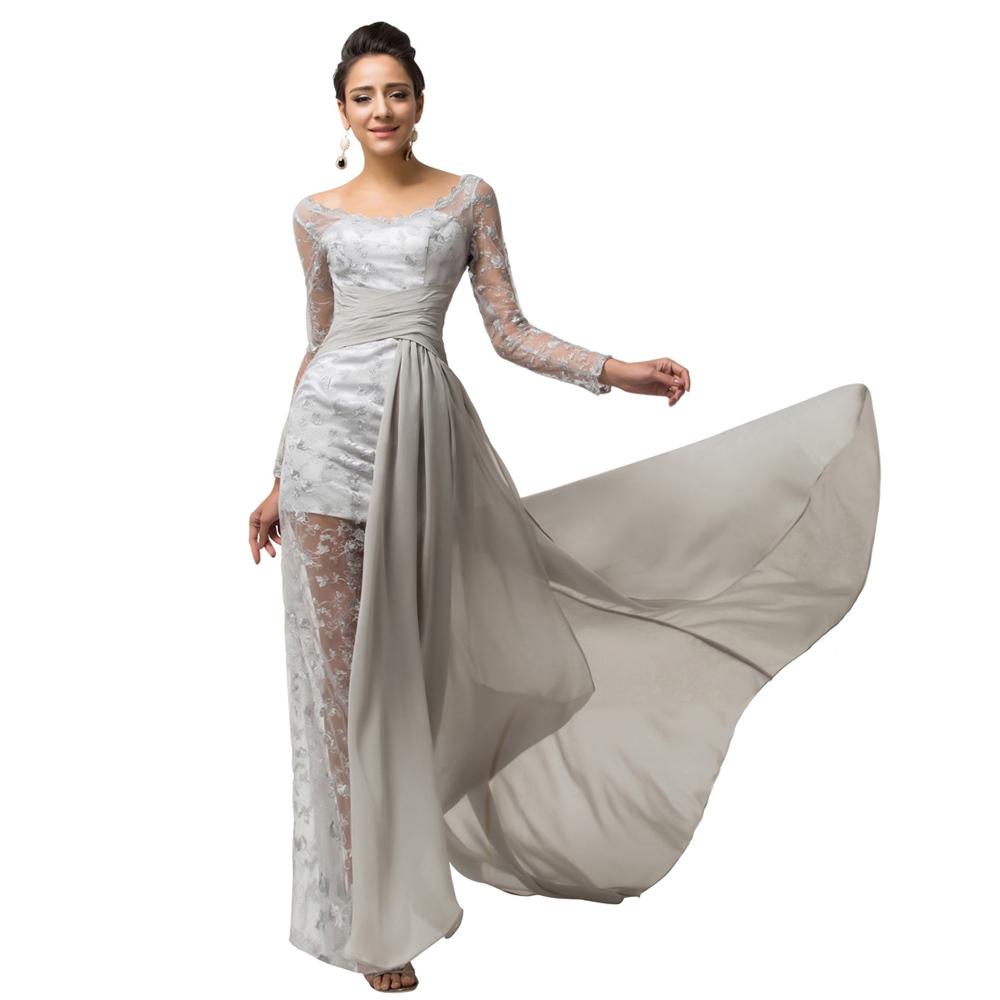 2015 abendkleider lang women formal dress grey chiffon long sleeve elegant evening dresses split. Black Bedroom Furniture Sets. Home Design Ideas