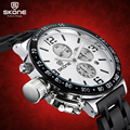 SKONE Stopwatch 6 Hands 24 Hours Function Chronograph Sport Watches Men Military Casual Watch Steel Band