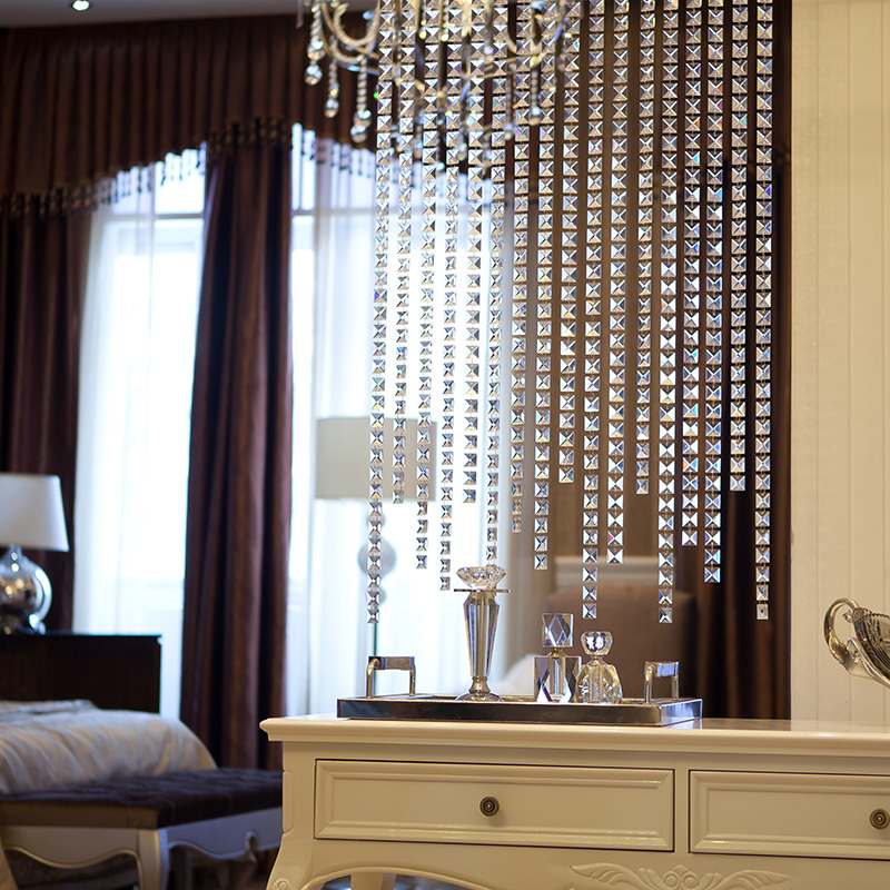 2015 hot sale crystal square beads curtains for hotel for Hotel door decor