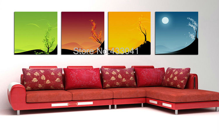 Hand Painted 4 Piece Canvas Art Set Green Red Yellow Blue