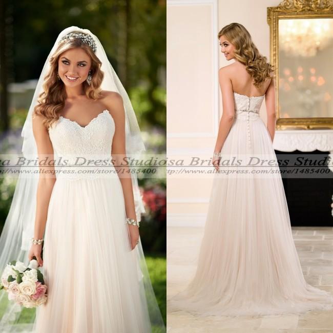 Simple Vintage Wedding Dresses: Vestido De Noiva 2015 Cheap Vintage Lace Wedding Dress