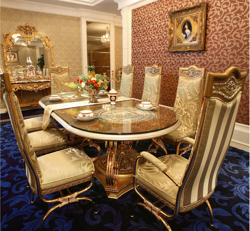 luxury french baroque style golden metal dining table with chairs antique palace royal dining. Black Bedroom Furniture Sets. Home Design Ideas