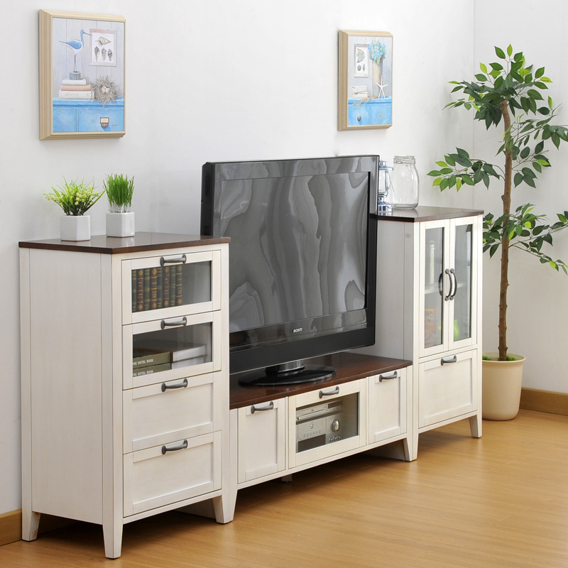 Living Room Furniture Cabinets: Simple Combinations Of Wild Oak Wood Cabinets Living Room